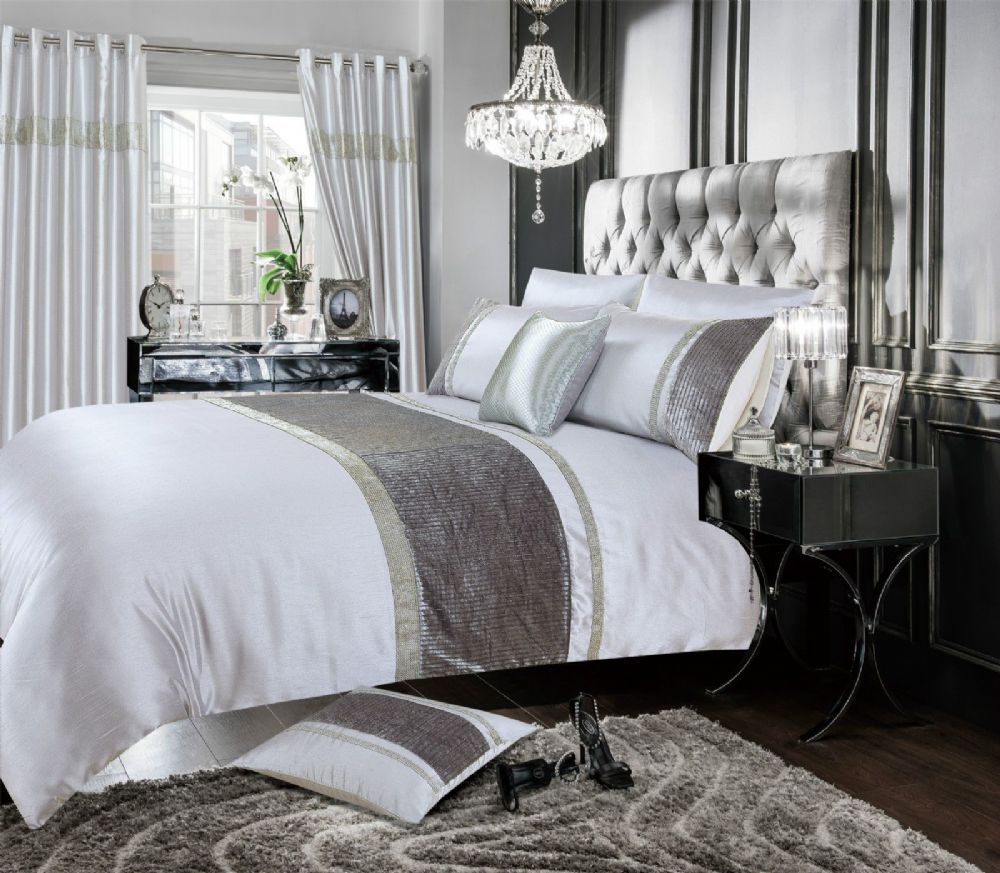 GREY SILVER COLOUR STYLISH VELVET DIAMANTE DUVET COVER